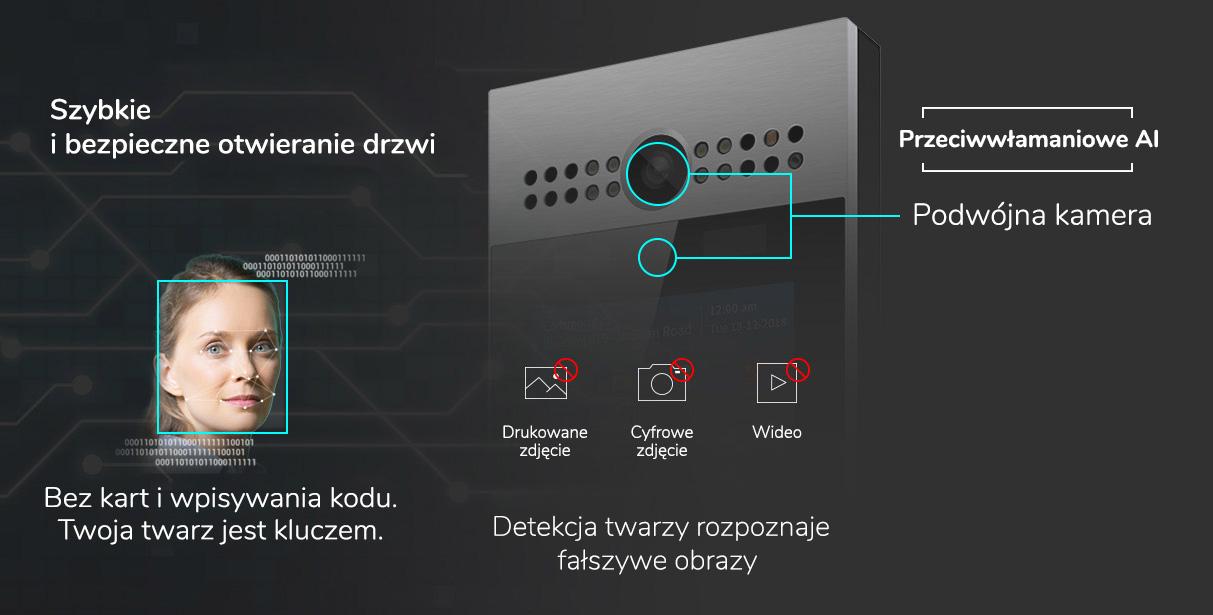 Wideodomofon IP SIP Akuvox R29C detekcja twarzy