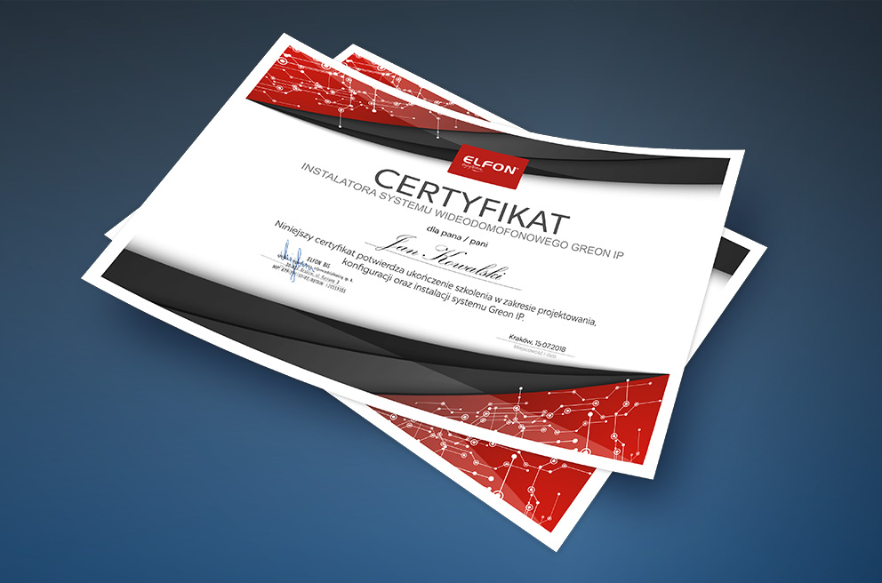 Elfon certyfikat